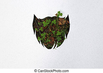 Hipster beard concept cut of paper, natural clover on...