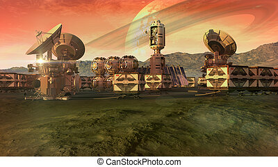 Colony on an arid planet - Scientific settlement on an arid...