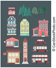 Set of buildings, car, bus, coffee, shop