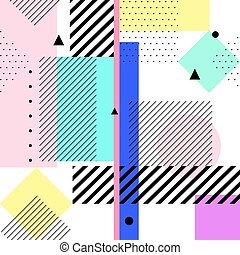 Vector geometric memphis elements. Retro style pattern from trendy 80s. Modern abstract design poster, cover, card.