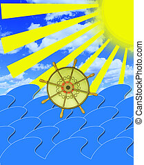 marine waves with steering-wheel and sun beams -...