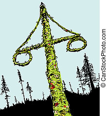 Swedish Midsummer Maypole and Forest - Sketch of decorated...