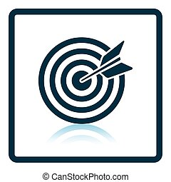 Icon of Target with dart. Shadow reflection design. Vector...