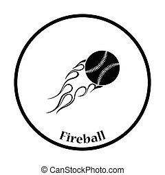 Baseball fire ball icon. Thin circle design. Vector...