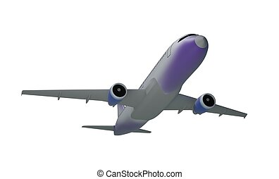 jet aircraft, isolated on white background 3d illustration -...