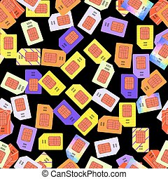 SIM Cards Seamless Pattern on Black Background.