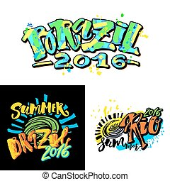 Brazil 2016 Games. Rio summer. Set of logo bunners.Lettering...