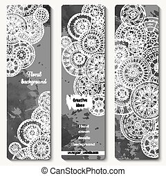 Abstract vector hand drawn doodle floral pattern card set...