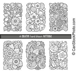 Set of backgrounds in vector with doodles, flowers and...