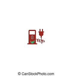 Electric car charging station sign icon. Vector illustration