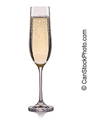 Glass of champagne with bubbles isolated on a white background