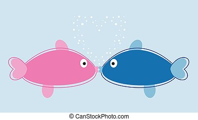 Fish Kissing with Bubble Heart
