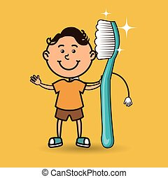child with toothbrush isolated icon design, vector...
