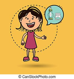 girl with tooth isolated icon design, vector illustration...