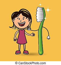 girl with toothbrush isolated icon design, vector...