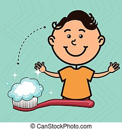 boy with toothbrush isolated icon design - boy with...