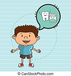 child with tooth isolated icon design, vector illustration...