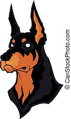 Doberman head mascot - Clipart picture of a doberman head...