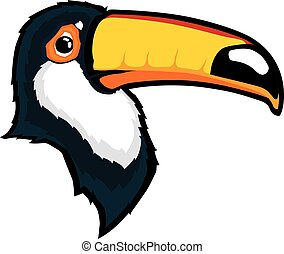 Toucan bird head mascot - Clipart picture of a toucan bird...