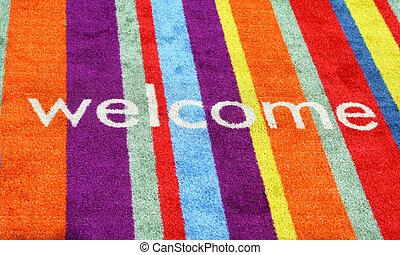 bienvenida, señal, en, alfombra