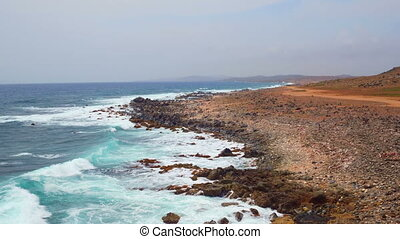 Aerial from the east coast at Aruba - Aerial from the east...