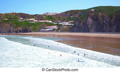 Surfing at Arifana in Portugal - Aerial from surfing at...
