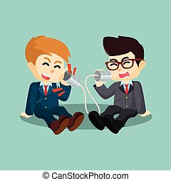 two businessman shouting on can
