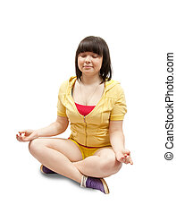Girl practicing yoga  over white