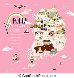 Korea travel map design with attractions over pink...