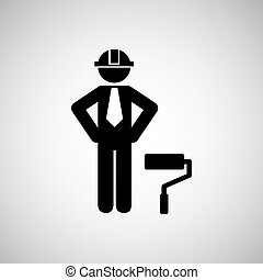 civil engineering icon with icon, vector illustration