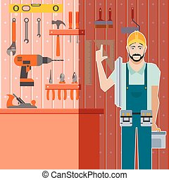 Tool shed with worker - Vector image of the tool shed with...