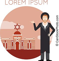 Jew and jewdaism banner - Vector image of the jew jewdaism...