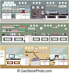 Laboratory vector illustration. Science lab interior....