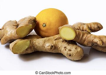 ginger root, lemon