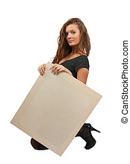 long-haired girl holds an empty poster - Standing long...