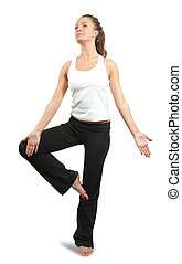 woman practicing yoga  over white