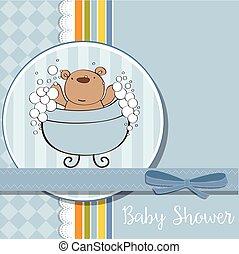 baby boy shower card with little teddy bear - baby boy...