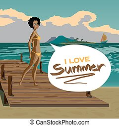 Sea landscape summer beach, old wooden pier, afro black woman dressed in yellow swimsuit. Girl in bikini is standing on coast in summer vacation. Vector flat cartoon illustration.