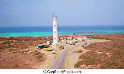 California lighthouse on Aruba - Aerial from California...