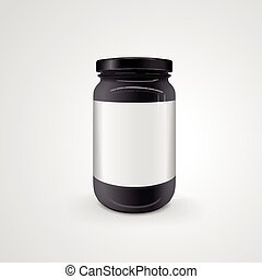 empty glass jar isolated on white background. 3D...