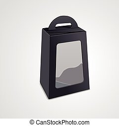 blank package box with plastic window isolated on white...