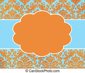 Happy Summer Damask Card Background Template