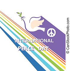 Greeting card for International Peace day with dove, peace...