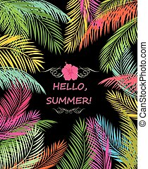 Summery poster with colorful palmes - Summery poster with...