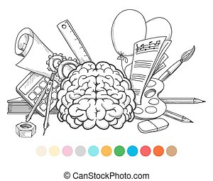 Back to school coloring page and color samples. Vector...