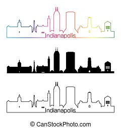 Indianapolis skyline linear style with rainbow in editable...