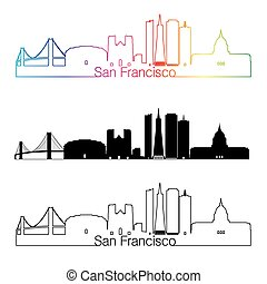 San Francisco skyline linear style with rainbow in editable...