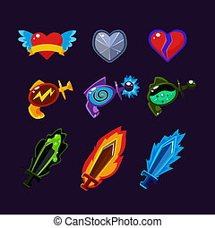 Game Resources Icons - Game resources weapon icons set...