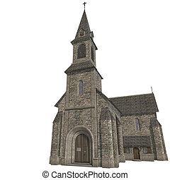 City Building Church. 3D rendering with clipping path and...