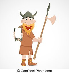 Funny cartoon viking with axe and mobile telephone